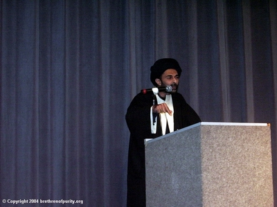 "Syed Abbas Ayleya, yet another Khomeinist agent, promoting Absolute Velayat-e Faqih and the Iranian regime: ""Imam Khomeini preached that an Islamic state protects not only the rights of the Muslims but also all the mustadh'aafeen, the disinherited, of the World."""