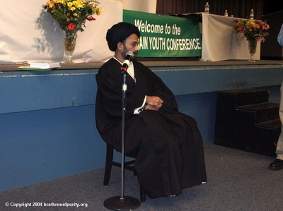 Syed Abbas Ayleya addressing the Bay Area Shiite audience.