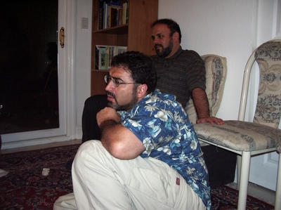 From left, Sam Bazzi and Mohammad Rakhshandehroo at the house of Hossein Falahati in San Jose. Both Rakhshandehroo and Falahati are members of the Board of Trustees at Shia Association of Bay Area (Saba Islamic Center).