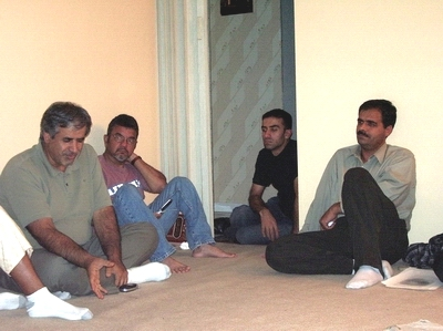 At the home of Mohamad Antar in San Jose, California. From left, Hossein Falahati, Shuja Yezdi, a Lebanese Shiite, and Ali Alamdar.