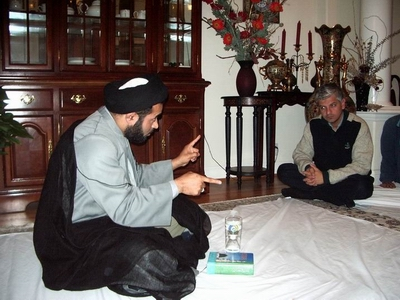 Nabi Raza Mir Abidi and Ali Mirza at the house of Dr. Mazhar Khan in Morgan Hill, CA, during a Shia Islamic Halaqa.