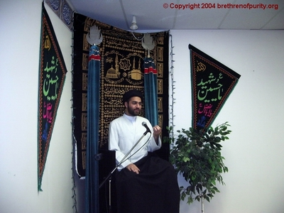 Syed Ali Raza Rizvi of London giving a sermon at Azakhana-e-Zahra, PBUH.