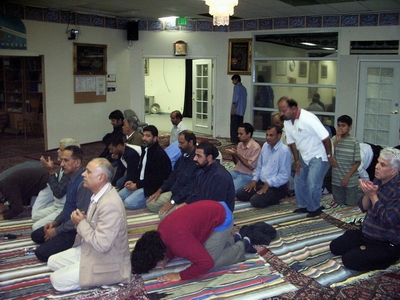 Asim Jafri, center of the second row, praying at Azakhana-e-Zahra, PBUH, in Milpitas, California.