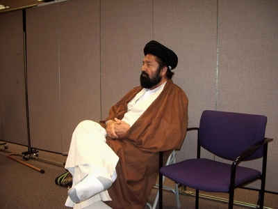Inside Saba Islamic Center: Mullah Qamar Hassani resting. Hassani is very active in the Northern California prisons, where he preaches and introduces the convicts to Shia Islam. Hassani abandoned engineering, his former profession, to study Shia Islam at the seminaries of Qom, Iran, where he spent six months and completed introductory studies. He was there concurrently with Zaheer ul Hassan Naqvi of Velayat TV USA. Hassani is originally from India.