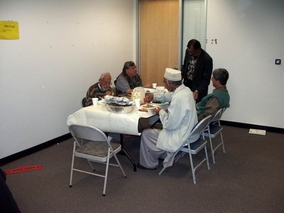 Bay Area Shia senior citizens enjoying the Ramadan iftar meal at SABA.