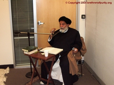 Inside Saba Islamic Center: Seyyed Mojtaba Beheshti giving a sermon in Persian.