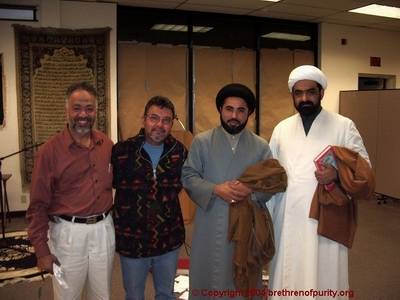 Inside Saba Islamic Center: From right, Shaikh Musharraf Hussaini, Nabi Raza Abidi (a.k.a. Nabi Raza Mir), Shuja Yezdi, and Muzaffar Khan: After performing the duties of Laylat al-Qadr and the Fajr prayer.