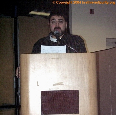 Inside Saba Islamic Center: Sam Bazzi giving a speech at during the Qods Day commemoration in 2004.