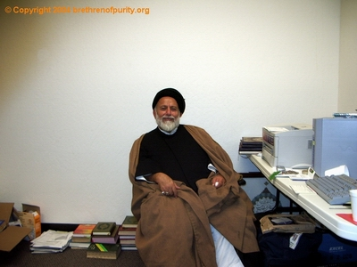 Seyyed Mojtaba Beheshti resting in an office Inside Saba Islamic Center (Saba Islamic Center) after performing the duties of the Night of Eid there. Beheshti was jailed by Federal authorities in 2007 and subsequently deported from the United States due to his involvement with Green Card fraud.