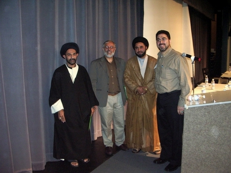 From left, Syed Abbas Ayleya, Imam Muhammad al-Asi, Nabi Raza Abidi (a.k.a. Nabi Raza Mir) at Al-Hasnain Youth Conference in Milpitas, California.