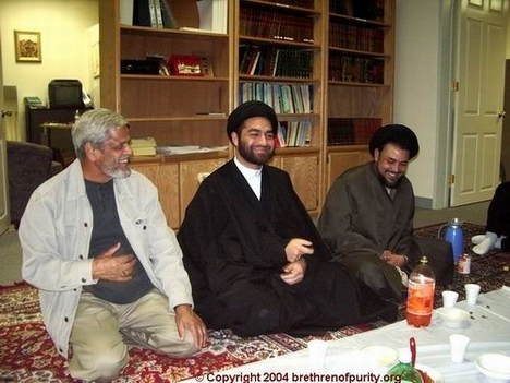Syed Ali Raza Rizvi, center, at Azakhana-e-Zahra, PBUH, during a gathering of mullahs and activists. Also in the picture, Syed Mudassir Ali Shah Moosvi, right, and Syed Hashim Jafri, left.