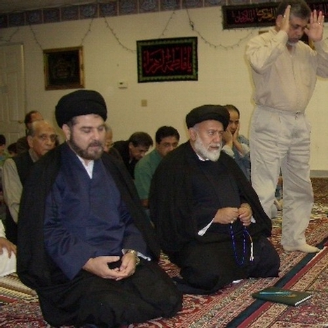 From left, Syed Ehtisham Zaidi and Syed Mojtaba Beheshti at Azakhana-e-Zahra, PBUH, in Milpitas, California. Standing is Syed Abu Muhammad Naqvi.