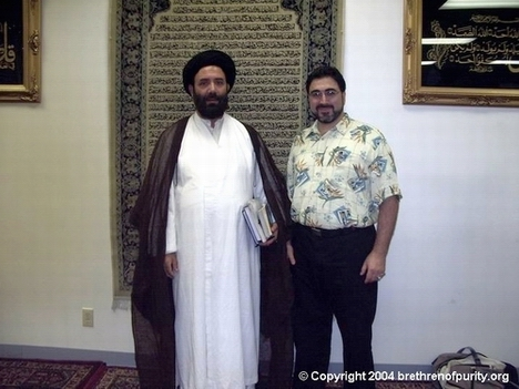 Sam Bazzi with Syed Fazil Hussain Mosavi in Azakhana-e-Zahra, PBUH, in Milpitas (South Bay), California.