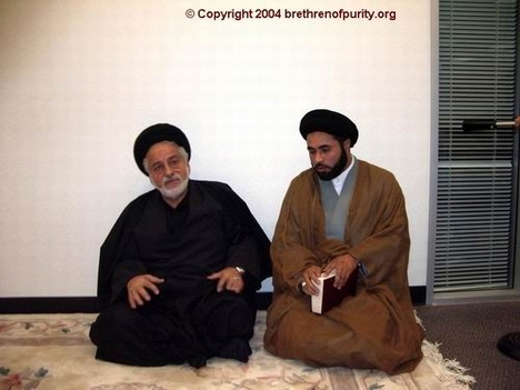 Seyyed Mahmoud Sedehi, left, and the Khomeinist agent Nabi Raza Abidi (a.k.a. Nabi Raza Mir), at the center of the Shia Muslim Association of the Bay Area (Saba Islamic Center).