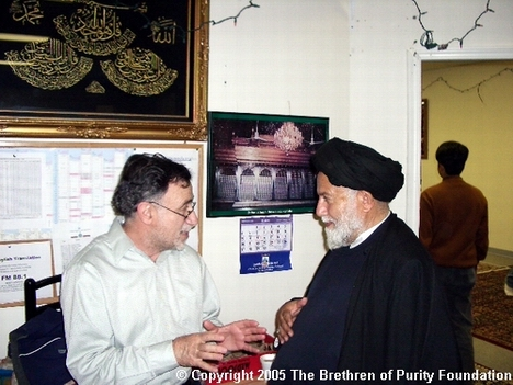 Mullah Mojtaba Beheshti, right, with Kays Hadi (a.k.a. Kays Hussein), the Chairman of the Iraqi Community Association at Azakhana-e-Zahra, PBUH, in Milpitas, California. Kays Hadi also served on both the Board of Advisors and Board of Trustess at Shia Association of Bay Area (Saba Islamic Center).