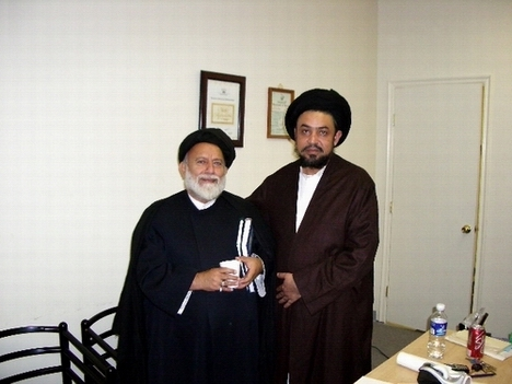 Mullah Mojtaba Beheshti, left, with Syed Mudassir Ali Shah Moosvi at Azakhana-e-Zahra, PBUH, in Milpitas, California.