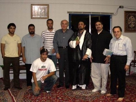 Syed Mudassir Ali Shah Moosvi, third from right, at Masjid Al-Rasool in Campbell, California, where he led a Halaqa and preached in both English and Farsi. Counter-terrorism expert Sam Bazzi is second from right. Islamic activist Ahmad Rashid Salim is first from left.