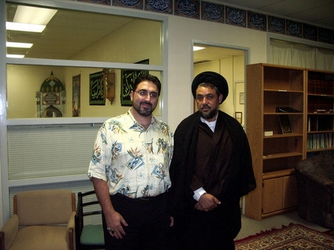 Syed Mudassir Ali Shah Moosvi, right, with the counterterrorism expert Sam Bazzi at Azakhana-e-Zahra, PBUH, in Milpitas, California.
