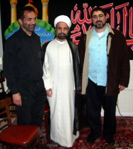 From left, Hassan Dastgah, Sheikh Adel Sarikhani, and the counterterrorism activist Sam Bazzi at Masjid Al-Rasool in Campbell, California.