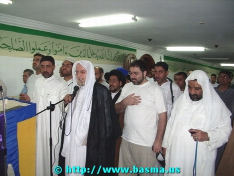 Sheikh Ali al-Kourani leading a congregational prayer for the hastening of the appearance of Imam Mahdi, PBUH, in Mecca, Saudi Arabia.