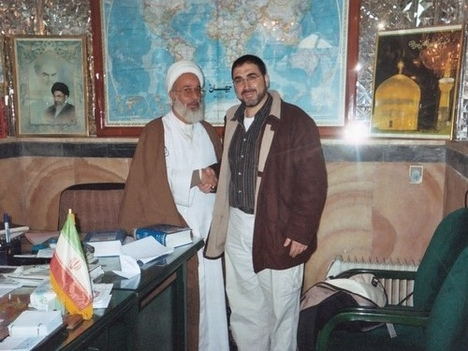 Sheikh Jaffar Ali Fayyaz, left, with Sam Bazzi in the Office of the Foreign Visitors in Sahan-e-Inqilab of the Shrine of the Eighth Imam, Ali ibn Moussa ar-Ridha in Mashhad, Iran.