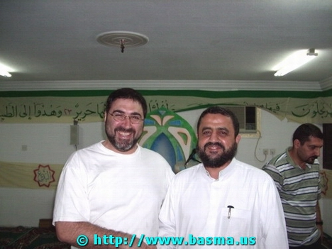 From left, Sam Bazzi with Sheikh Mohamad Khatoun in Mecca (مكة المكرمة), al-Hijaz (الحجاز), Saudi Arabia.